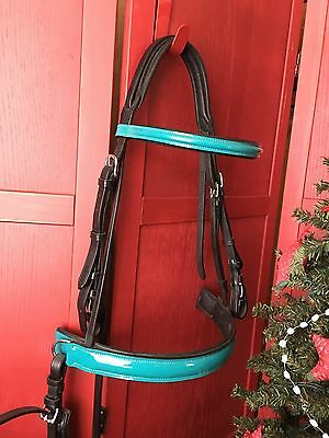 FSS Full/Horse Padded Dressage Bridle Black And Aqua