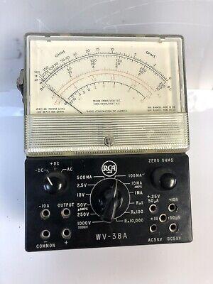 Vintage Rca Wv-38a Analog Multimeter Ac Dc V A Ohm Meter Black