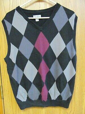 Walter Hagen Golf Apparel Men's Argyle Sweater Vest Size L  Black Gray & Burguny