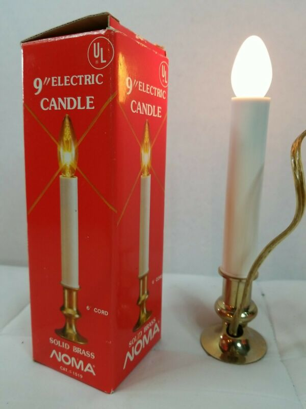 """Set of 2 Vintage NOMA Electric Christmas Window Candle Light Solid Brass 9"""" Box"""