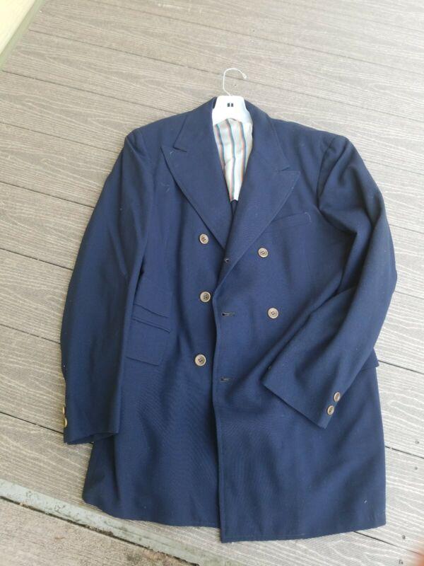 Vintage 1960s Mens Sport Jacket Suit Blazer blue Anthony King bespoke