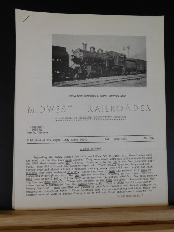 Midwest Railroader #49  1965 May-June A journal of midland locomotive rosters