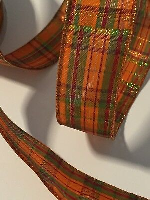 Orange Metallic Pumpkin Plaid WIRE EDGED RIBBON 1-1/2