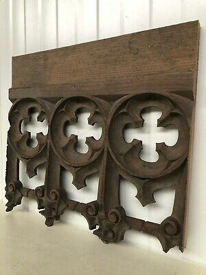 "LEAF CARVED TEAK FRETWORK STYLE PANEL CREST  8 1//2/"" X 3 7//8/"" more available"