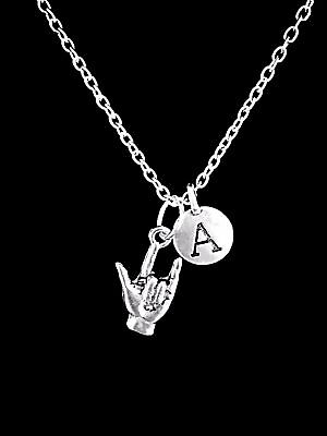 Sign Language Necklace Initial I Love You Hand Symbol Gift Jewelry - Sign Language I Love You