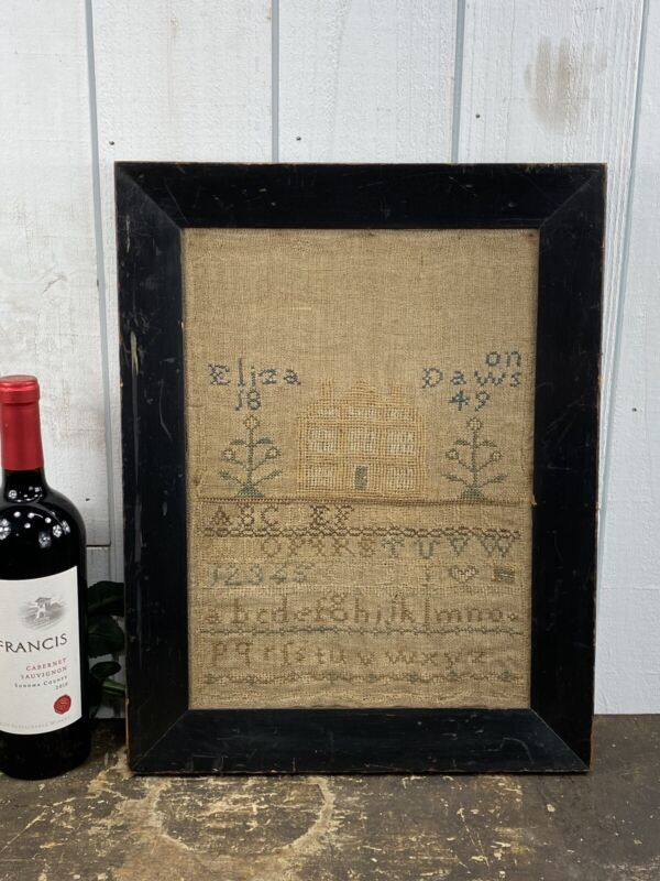 Antique Dated 1849 Sampler Eliza Daws Black Frame And Glass