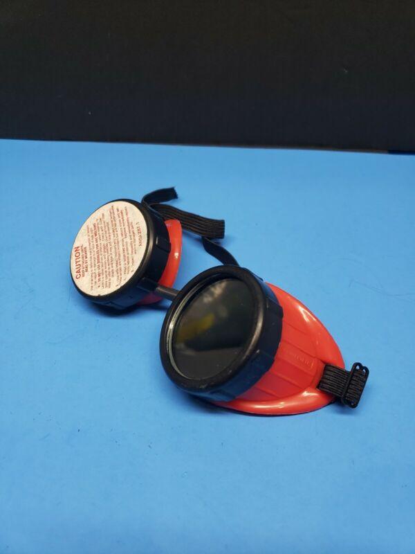 Vintage PROTECTEYE Z-87 Welding Eyecup Goggles Steampunk Motorcycle - Red