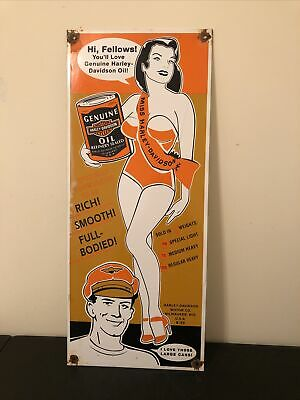VINTAGE PORCELAIN HARLEY DAVIDSON OIL CAN GAS AND OIL SIGN
