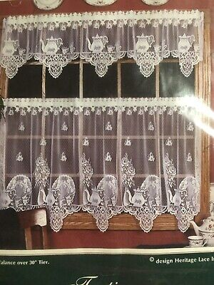 """Heritage Lace """"teatime"""" Tier pair New In Package White 60 x 30"""""""