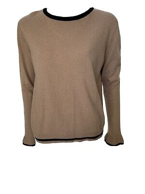 IRIS & INK Camel Long Sleeve Black Trim Wool Cashmere Viscose Sweater Size L