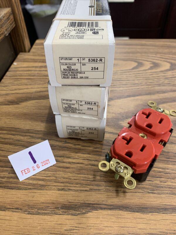 (3) 5362-R Leviton Duplex Receptacle Red 20A 125V NIB Free Shipping