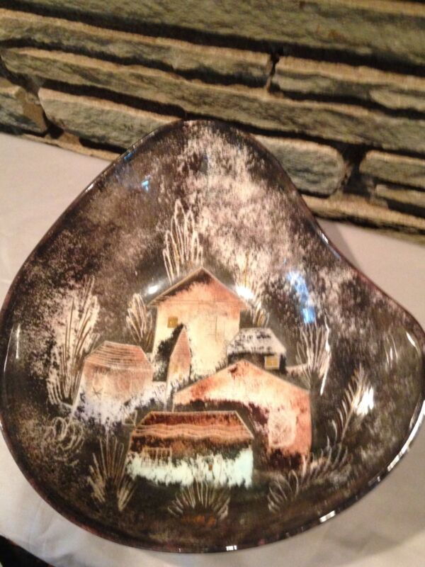 Sascha Brastoff California Pottery Large Rooftops Freeform Bowl