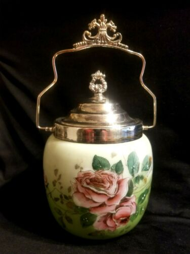 BEAUTIFUL ANTIQUE BISCUIT CRACKER COOKIE JAR HAND PAINTED ROSE ROSES GRIFFEN HDL