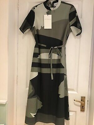 "Selected Femme (people ) Olive Black Patterned Organic Cotton Dress Sz 38""..."