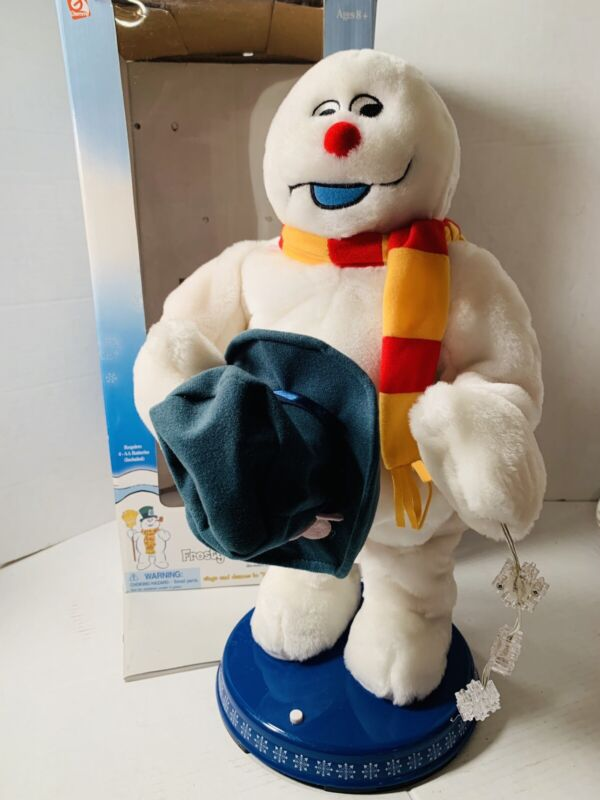 "Gemmy Frosty The Snowman Christmas Animated Dancing Spinning Snowflake 18"" w/Box"