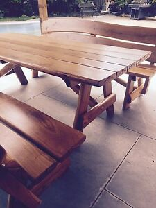 Rustic Outdoor Oak Patio Dining Set with Matching Benches