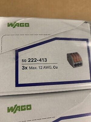 50 Pack Genuine Wago 222-413 Lever-nuts 3 Conductor Compact Connectors