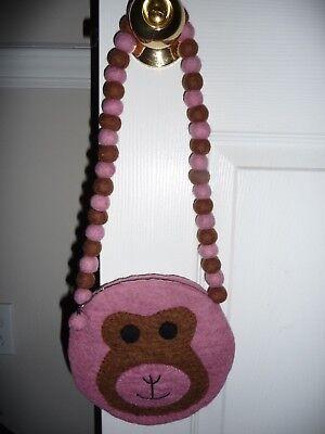 Felted Wool Monkey Pom Pom PINK Zip Small Shoulder Purse Bag NEW! FREE - Pom Pom Monkey