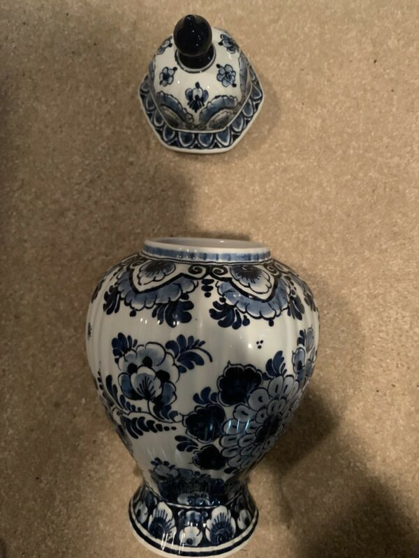 Delft Hand Made And Hand Painted Porcelain Jar Made In Holland