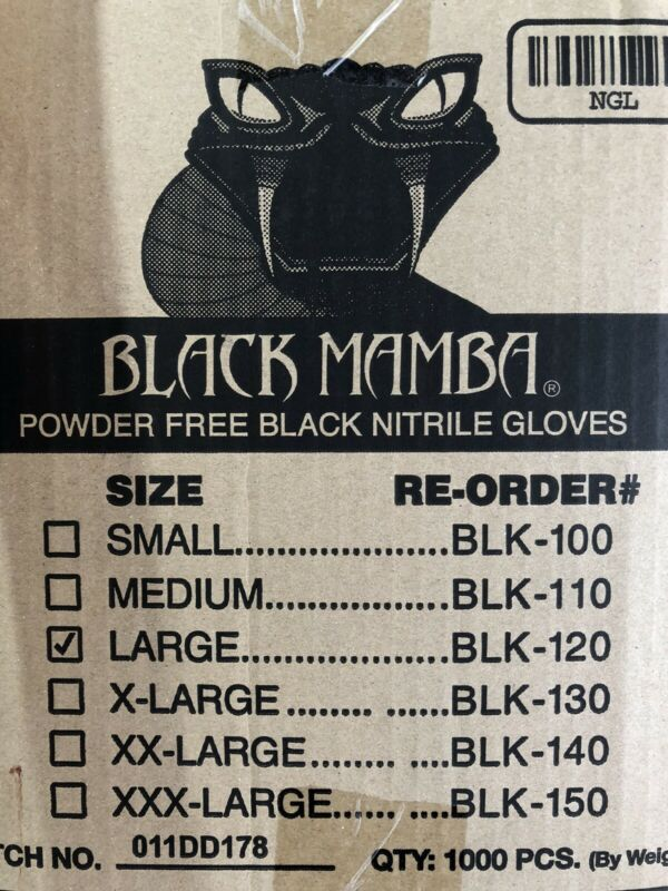 BLACK MAMBA Gloves Nitrile Disposable Heavy Duty LARGE 10 BOX of 100 EA(1000 pc)