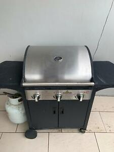3 Burner Hooded Gas BBQ with gas bottle and cover