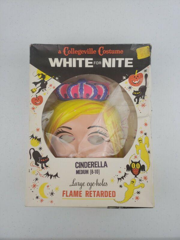 VTG 1978 Collegeville Disney Princess CINDERELLA Halloween Costume Mask Box 8-10