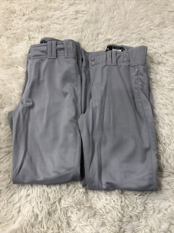 Lot Of 2 Adidas Baseball Pants Kids Youth Large L Gray Boys