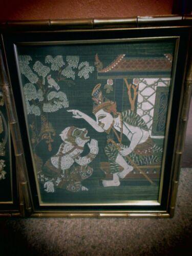 Vintage Pair of Framed Silk Fabric Tapestry Hindu Hanuman God Monkey King