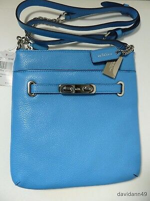 NWT Coach 36501 Pebble Leather North South Swagger Swingpack- Azure