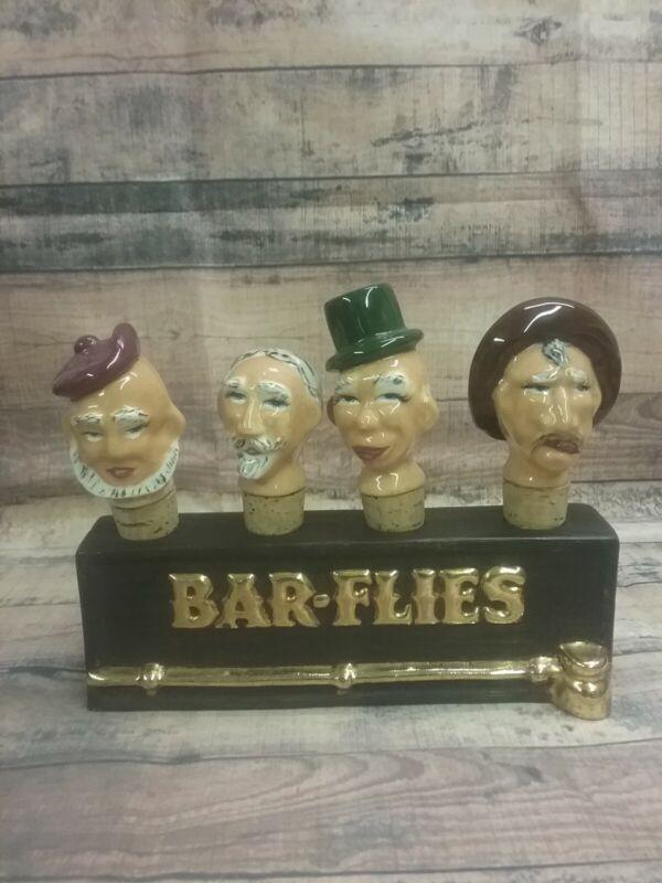 "Vintage Gilded Ceramic ""Bar-Flies"" Cork Head Bottle Stoppers w/Ceramic Holder"