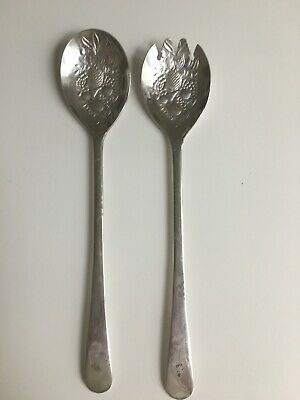 fork and spoon silver plated serving cutlery Beautiful salad servers
