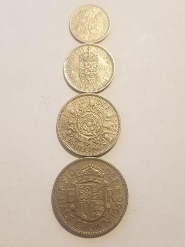 1956 England (UK) -  4 Coin Lot - Sixpence, 1 Shilling, 2 Shilling, 1/2 Crown