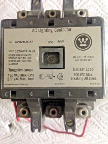 USED WESTINGHOUSE AC LIGHTING CONTACTOR, A202K3CAZ  1254C31G13, 600VAC, 100A