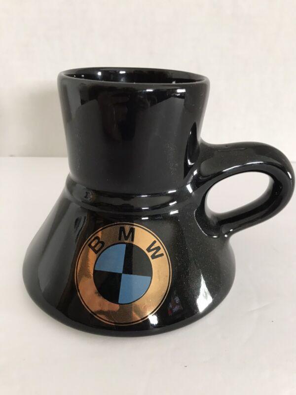 VINTAGE FELTMAN LANGER BMW CERAMIC TRAVEL COFFEE MUG GOLD LOGO NON SPILL BOTTOM
