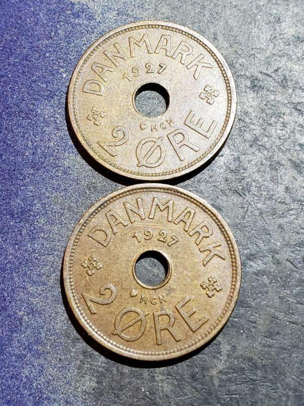 2 Coin Lot 1927 Denmark 2 Ore Coins