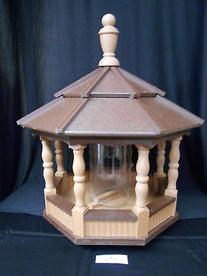 Large Vinyl Bird Feeder Amish Homemade Handmade Handcrafted Cedar & Brown Roof
