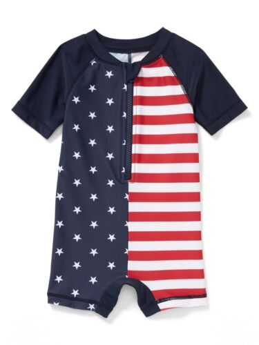 OLD NAVY BOY GIRL 1PC PATRIOTIC USA FLAG UPF-50 RASHGUARD SWIMSUIT 3-6M 12-18M