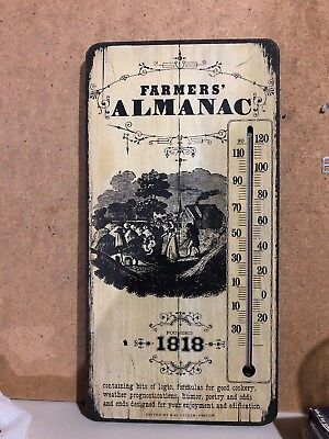 VINTAGE FARMERS ALMANAC 1818 WOOD WALL PLAQUE FAHRENHEIT CELSIUS THERMOMETER