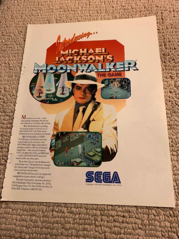 "original 11- 8 1/4"" Moonwalker Michael Jackson Sega arcade video game AD FLYER"