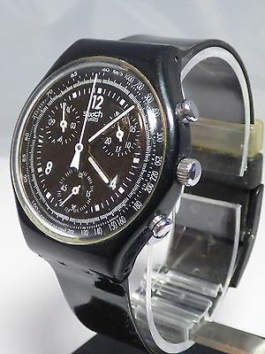 Swatch SCB114 Pure Black Watch - Working