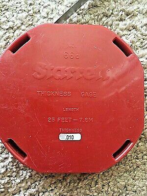 Vintage Starrett 666 .010 12 X 25 Thickness Gage Feeler Stock Roll