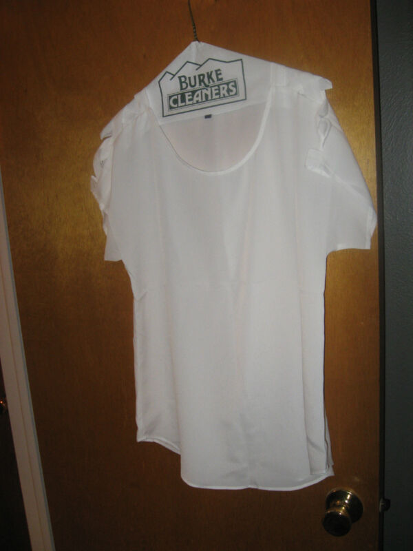 Pretty White Polyester Top from Express Lattice Sleeves S EUC