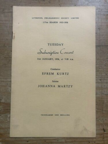 Johanna Martzy Concert Programmme Brahms Violin Concerto 1956