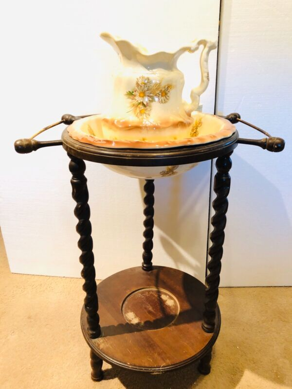 Vintage Victorian Cherry Barley Twist Wash Stand With Jug and Basin