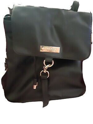 VERSACE Perfums Vegan Black Gold Patterned Backpack Drawstring