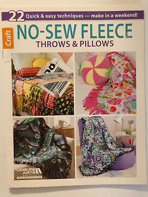 Leisure Arts Craft NO-SEW FLEECE THROWS & PILLOWS - 22 Project Design Book