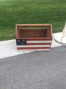 Wooden American flag tool box