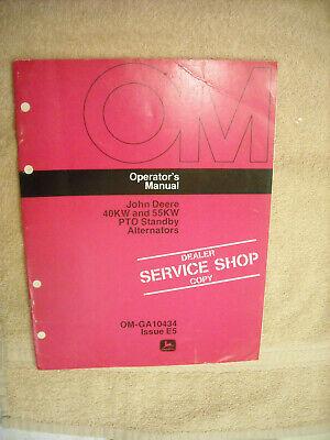 John Deere Om-ga10434 Operators Manual For 40kw 55kw Pto Generators Issue E5
