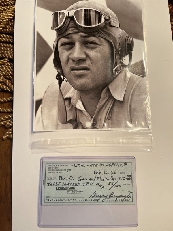 Gregory (Pappy) Boyington Signed Check With Photo