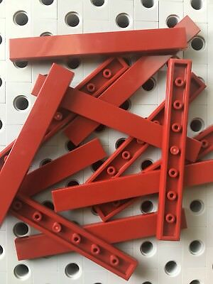 Lego Dark Red 1x8 Smooth Finishing Flat Tiles Modular Buildings 12 Pcs